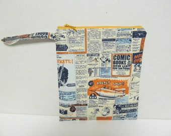 "Wet Bag/10.5""x9""/News Paper x Pale Orange Zipper"