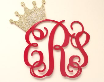 Glittered Wooden Monogram, Nursery Decor Wall Hanging, PAINTED GLITTERED Crown Monogram, Royal Princess Crown,  Monogram Wall Hanging