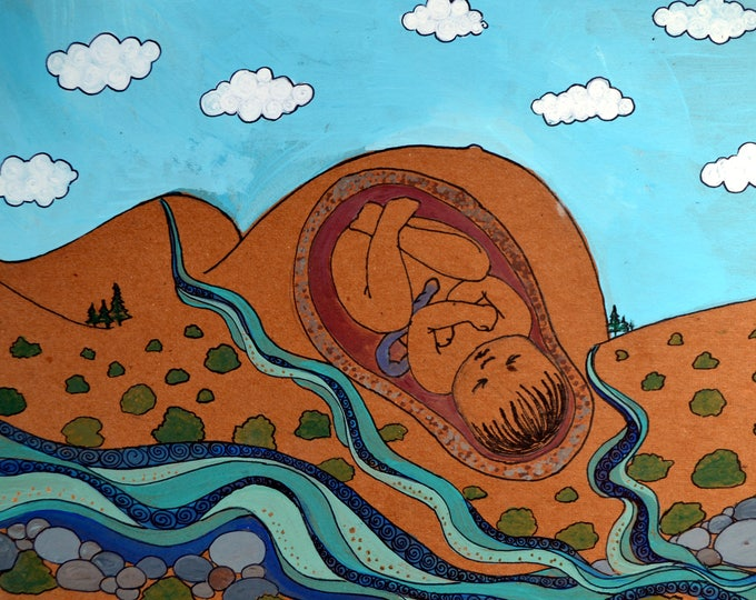 """PACHAMAMA Magnet/ 4"""" x 5""""/ Fridge magnet/ Birth art/ pregnancy/ gift for doula/ gift for midwife/"""