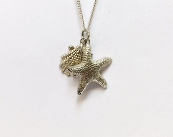 Sterling silver shell and star fish necklace