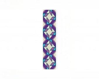 NA Quilt Blocks Cuff Bracelet - Loom or 8 Drop Even Peyote Bead Pattern
