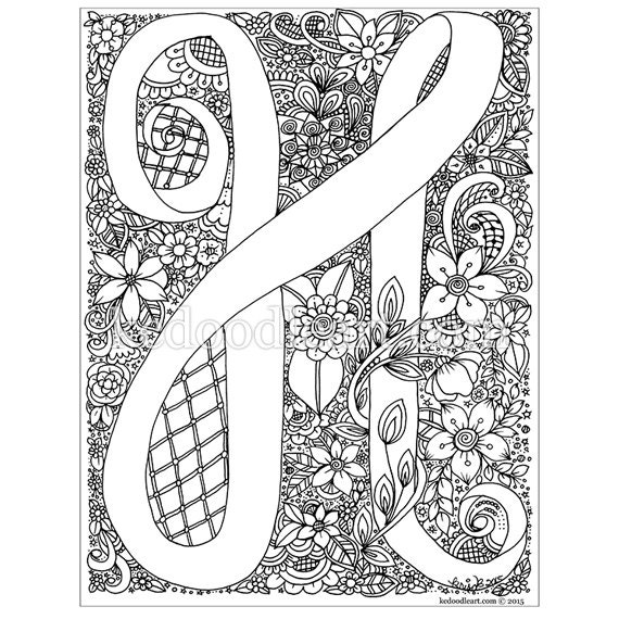 Instant Digital Download Letter H adult coloring page
