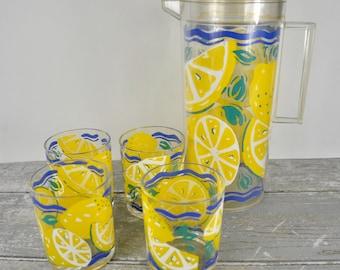Vintage Lemonade Set, H J Stotter, Plastic Pitcher and 4 Tumblers, Retro Drink Cups, Lemon Graphics, Picnic, Camping Drinkware