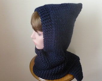Hooded Scarf Chunky Knit Scoodie Teen Adult Warm Hooded Scarf - Navy - Ready to Ship - Direct Checkout - Gift for Her