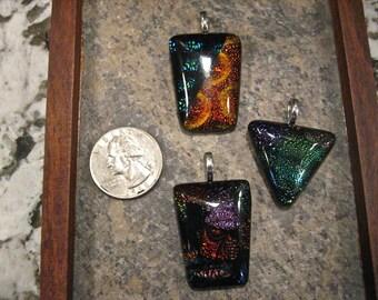 Set of 3 Dicrotic Glass Pendants