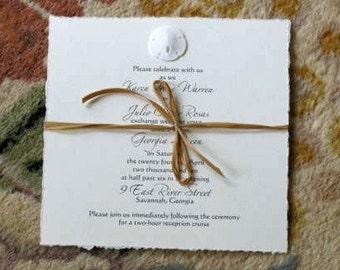 Sand Dollar Invitations SAMPLE for Beach Wedding
