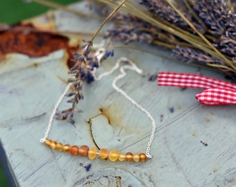 Amber necklace - Yellow amber jewelry - Amber bar necklace - Raw unpolished amber - Sterling silver and amber -