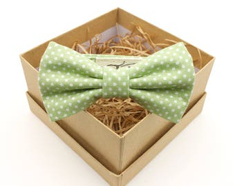 Green Polka Dot Children's Bow Tie - Adjustable, Pre-tied Bow Tie - Green Kids Bow Tie - Gifts for Boy - Baby Shower Gifts