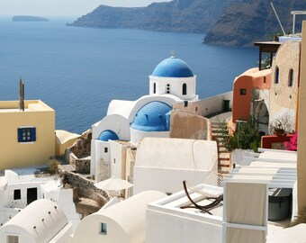 Santorini Greece Photography - Oia Photo - Greek Islands Print - Blue and White Mediterranean Sea Greek Architecture Photo Wall Art