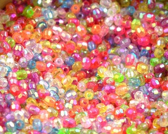 Assortment 500 mix pearls Pearly plastic faceted 4mm ❤