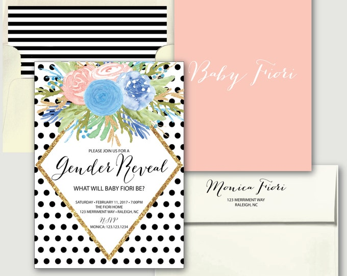 Polka Dot Gender Reveal Invitation // He or She // Boy or Girl // black and white // blush pink / gold glitter / Floral / RALEIGH COLLECTION