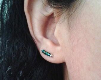 Cute ear cuffs, earring crawlers, silver ear jackets, sterling ear climbers, peacock green earings, small earrings, iridescent earrings