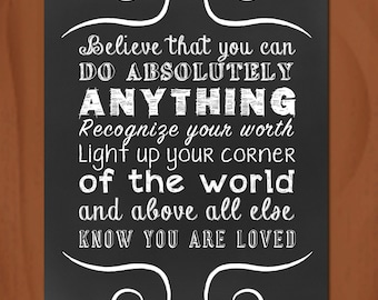 Positive Subway Art - Chalkboard Style - Know You Are Loved - 5x7