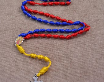 Our Lady of Guadeloupe Red, Blue, and Yellow Regular Rope Rosary with Metal Cross and Pendent