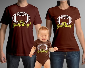 Football Brown Matching shirts - Daddy Mommy and Baby shirt and  baby bodysuit / toddler tees