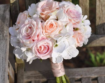 Wedding bouquets etsy wedding flowers wedding bouquet keepsake bouquet bridal bouquet blush pink and ivory hydrangea junglespirit Gallery