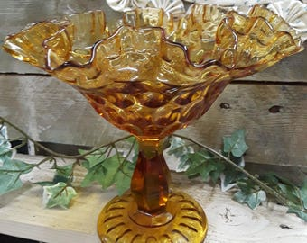 Amber Glass Thumbprint Design Dish
