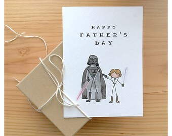 Starwars Father's Day Card // star wars card, darth vader, luke skywalker, funny card, father's day card, for dad, greeting card, starwars