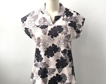 Women's blouse - Mao collar - lightweight - short sleeves- Interval Collection - pale lotus 110.00