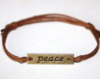Peace Bracelet in Antique Brass, Peace Bronze Bracelet, Peace Anklet, BFF Gift, Friendship Jewelry, Birthday Gift, Best Friend Gift