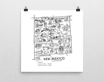 New Mexico Map DIGITAL Print / Printable Art from 1950s / State Wall Art / Travel Map Decor / New Mexico Decor / Instant DOWNLOAD
