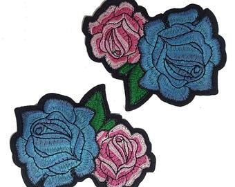 2 Iron On Embroidered Roses Patches, Flowers Appliques, Glue on Flowers, Garment Embellishment