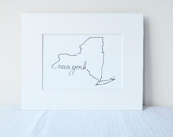 New York Art Print State Outline, 5x7 Print in 8x10 White Mat Board