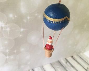 Hot Air Balloon Santa Ornament