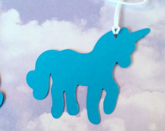 Unicorn Tag, Shaped Hang Tag, Birthday Party Favor, Whimsical Die Cut, Fairytale Party Decor, 10 pc
