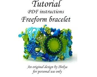 PDF tutorial, Beading pattern tutorial instructions, Freeform beaded cuff bracelet tutorial, digital download, Freeform beading tutorial