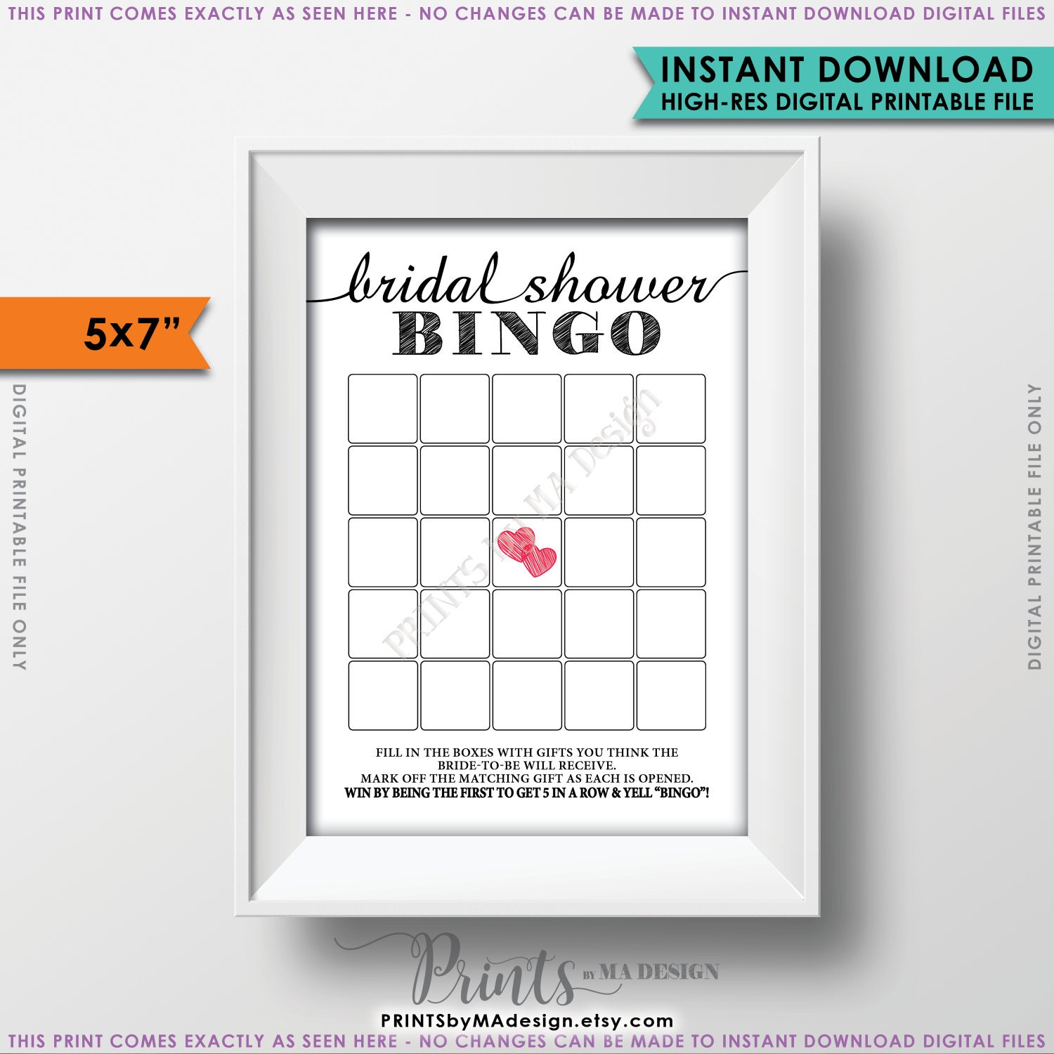 Bridal Shower Bingo Cards Printable Blank Game Card PRINTABLE 5x7 ID