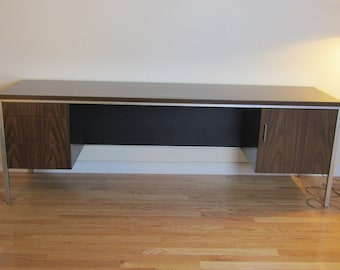 Mid Century High End Steel & Walnut Commercial Credenza