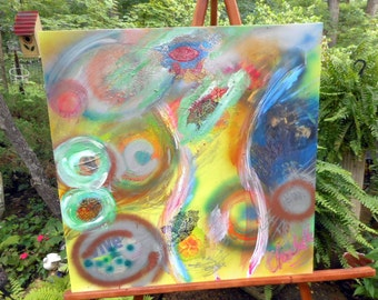 """Vintage Abstract Art Collage-Large 30"""" x 30"""""""