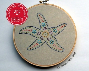 Hand Embroidery Patterns, Embroidery Hoop Art, Embroidery Pattern PDF, Starfish, Beach Decor, Boho Decor, Embroidery Pattern,