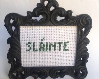 Slainte Mini Cross Stitch in Black Frame