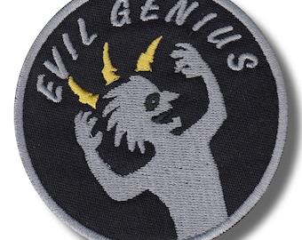 Evil genius variation 2 - embroidered patch, 8x8 cm