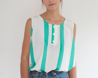 Slouchy striped tank - silky summer watermelon top - L