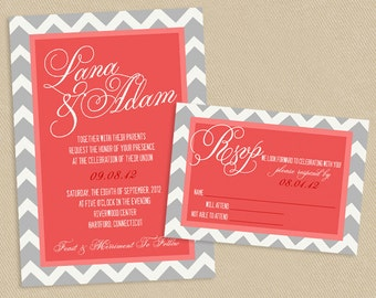 Printable Wedding Invite and RSVP Invitation Set - Coral and Grey Chevron Script Calligraphy Names