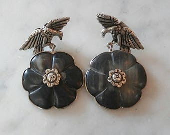 Sterling Silver Eagle and Black Stone Dangle Earrings