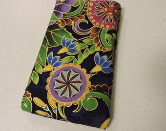 FLOWER GARDEN with gold outlining Affordable Eyeglass/iPhone/large sunglasses cases