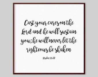 Psalm 55:22 Scripture Canvas Wall Art - Cast your cares on the Lord and he will sustain you