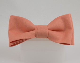 Clip on Bow Tie Light Orange Linen Handmade from Vintage Fabric Bowtie Clip Bow tie Orange Sherbet colored bowtie