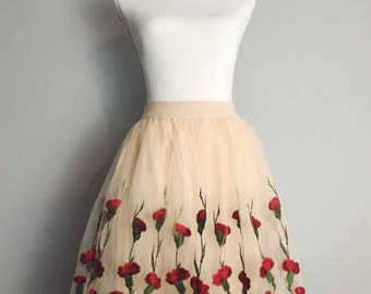 Tulle floral skirt