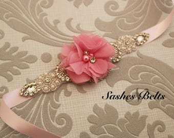 Pink Flower Girl Belt, Pink  Flower Sash Belt, Wedding Belt, Pink Belt Sash, bridesmaid belt,  crystal rhinestone belt, dress belt