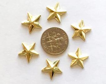 13mm Gold Metal Star Shaped Studs Hot Fix (HotFix) Iron On or Glue on Flat Back Studs/ 100 pcs., 50 Pcs. or 25 Pcs.