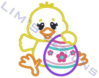 """Easter Chick applique machine embroidery design- 3 sizes 4x4"""", 5x7"""", 6x10"""""""