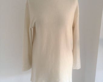 JUNGLE KENZO Ivory  Roll-Neck A-Line Jumper - Small