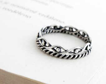 Set of 2 tiny stacking sterling silver ring, delicate stackable silver ring, slim double ring