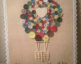 Nursery Wall Hanging Art on Canvas Home Decor // Motivational Quote // Button Art // Let Your Dreams Take Flight Hot Air Balloon, Up