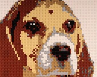 Mosaic Beagle made from Lego® bricks.